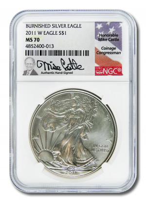 Mike Castle Hand-Signed 2011 W Burnished Silver Eagle S$1 - NGC MS 70