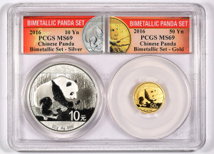 BLOWOUT!!! 2016 Panda 50Y Gold and 10Y Silver Bimetallic Collectors Set - MS69