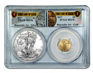 "SALE! 2017 American Silver and Gold Eagle ""First Day of Issue"" Bimetallic Collectors Set - PCGS MS-70 NYCB EXCLUSIVE!!"