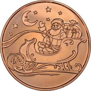 Santa in his Sleigh 1 oz. .999 Pure Copper Round