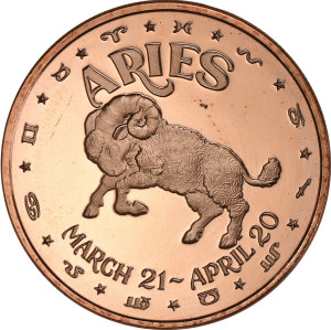 Aries - 1 oz. .999 Pure Copper Round