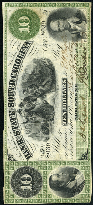 Green 10s 1860's South Carolina Obsolete with Green Overprint - VG-VF