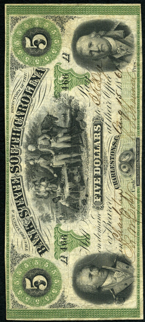 Green 5s 1860's South Carolina Obsolete with Green Overprint - VG-VF
