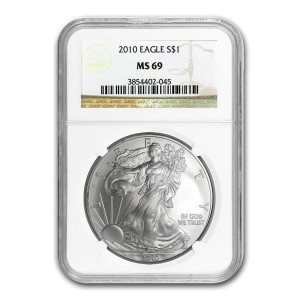 2010 $1 SILVER EAGLE - NGC MS 69
