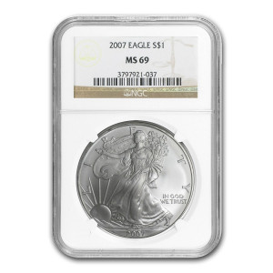 2007 $1 SILVER EAGLE - NGC MS 69