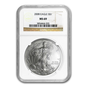 2008 $1 SILVER EAGLE - NGC MS 69