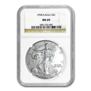 1998 $1 SILVER EAGLE - NGC MS 69