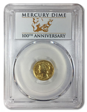 2016-W 1/10 oz Gold Mercury Dime Coin 100th Anniversary PCGS SP70 FS