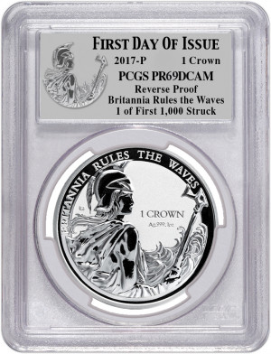 2017-P Britannia Rules the Waves 1 Crown - First Day of Issue - PCGS PR69DCAM - 1 of First 1000 Struck