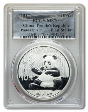 OUT OF STOCK!!! 2017 China 30 gram Silver Panda MS-70 PCGS (First Strike) - Foil Label