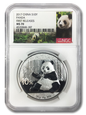 2017 China 30 gram Silver Panda MS-70 NGC (First Releases) - Panda Label