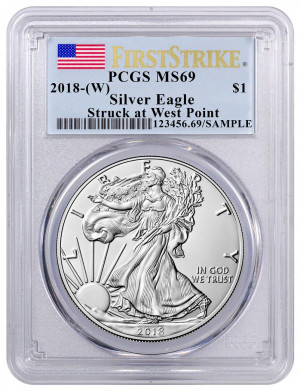 2018-(W) American Silver Eagle FirstStrike PCGS MS69  - Struck at The West Point Mint