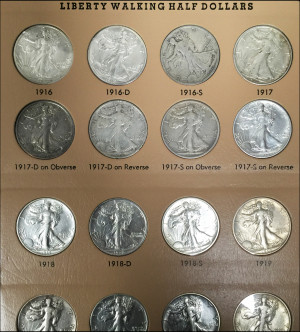 DANSCO Complete Walking Liberty Set - AU Condition - War Years 1941-47