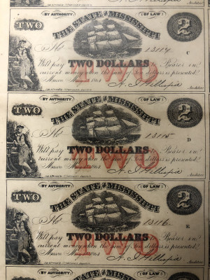 Uncut Civil War 1864 Currency Sheets from Mississippi - $2 and $3 First Quality