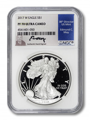 Ed Moy Hand-Signed 2017 W Silver Eagle S$1 - NGC PF70 Ultra Cameo