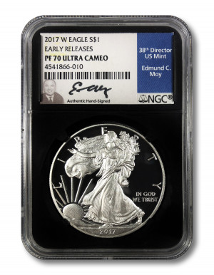 Ed Moy Hand-Signed 2017 W Proof Silver Eagle S$1 - NGC PF 70 Ultra Cameo Early Releases