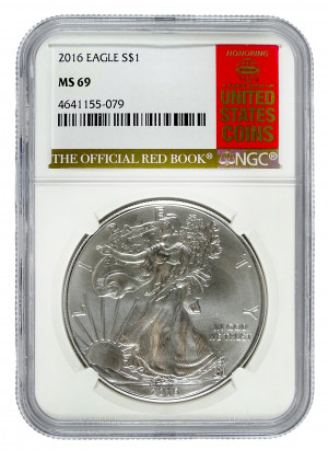 2016 Silver Eagle S$1 with Official Red Book Label - NGC MS 69