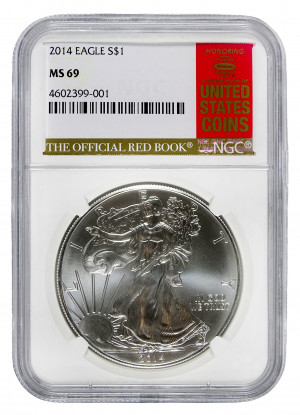 2014 Silver Eagle S$1 with Official Red Book Label - NGC MS 69