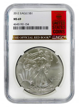 2012 Silver Eagle S$1 with Official Red Book Label - NGC MS 69