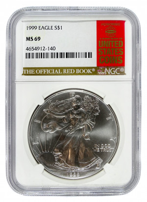 1999 Silver Eagle S$1 with Official Red Book Label - NGC MS 69