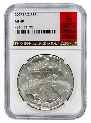 2007 Silver Eagle S$1 with Official Red Book Label - NGC MS 69