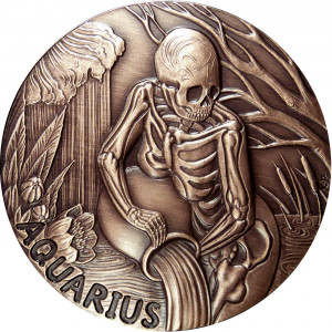 Aquarius Zodiac Skull Series Memento Mori Coin - 1 oz Copper Round