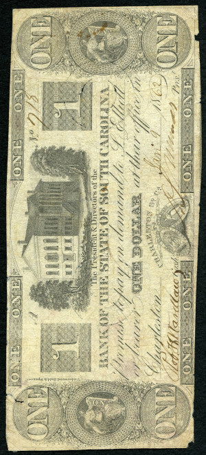 1s South Carolina Obsolete from the 1860's no overprint - VG-VF
