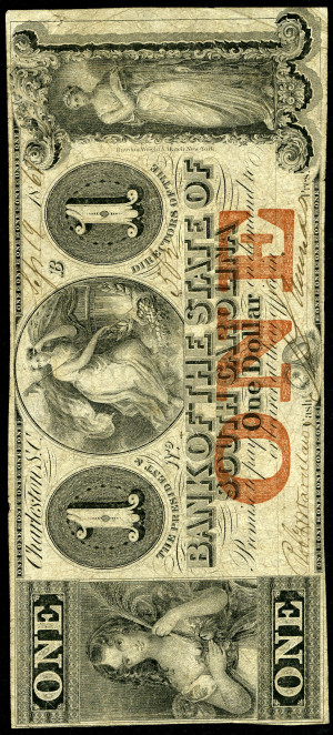 Red 1s 1860's South Carolina Obsolete with Red Overprint - VG-VF - Design 2
