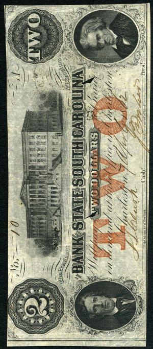 Red 2s 1860's South Carolina Obsolete with Red Overprint - VG-VF