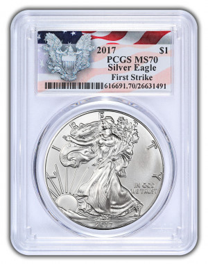 2017 Silver Eagle - Special Flag and Eagle Label - PCGS MS-70 (First Strike) - Very Low Mintage