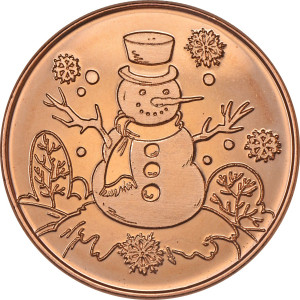 Snowman 1 oz. .999 Pure Copper Round