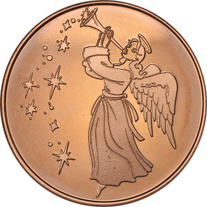 Angel with Horn 1 oz. .999 Pure Copper Round
