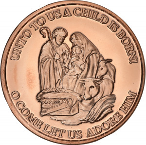 Nativity 2 - Unto Us a Child is Born - 1 oz. .999 Pure Copper Round
