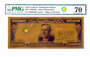 $100,000 Gold Certificate Smithsonian Edition 1934 PMG GEM UNC