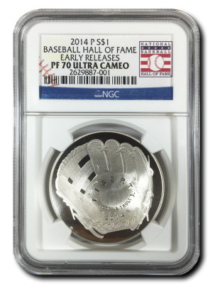 2014 P $1 Baseball Hall of Fame Coin - Early Releases - NGC PF-70 Ultra Cameo