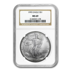 1993 $1 SILVER EAGLE - NGC MS 69