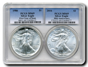 "2016 ""30th Anniversary Special"" Silver Eagle 2-Coin Set with 1986 1st Year of Issue and 2016 30th Anniversary - PCGS MS-69"