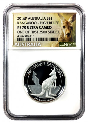 2016P Australia S$1 Kangaroo - High Relief - NGC PF 70 Ultra Cameo - One of First 2500 Struck
