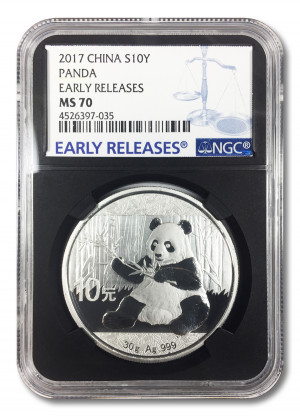 2017 China 30 gram Silver Panda MS-70 NGC (First Releases) - Blue Balance Label - Black Core