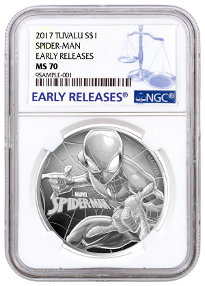 2017 Tuvalu S$1 1 oz Spider-Man Coin - NGC MS 70 Early Releases