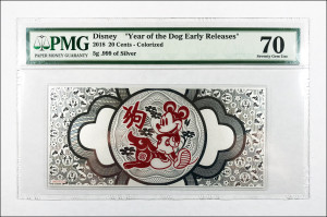 "2018 Niue Disney Lunar ""Year of the Dog Early Releases"" Colorized Foil Note 5 g Silver 20 Cents - PMG Graded 70 GEM Unc."