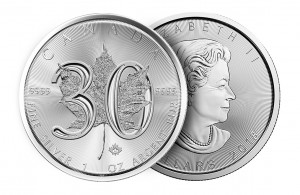 "2018 Canada 1 oz Silver Maple Leaf ""30th Anniversary"" $5 Coin GEM BU"