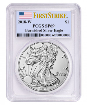 2018-W Burnished American Silver Eagle PCGS SP69 First Strike Flag Label