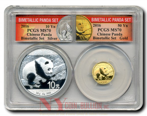 EXCLUSIVE! 2016 Panda 50Y Gold and 10Y Silver Bimetallic Collectors Set MS70