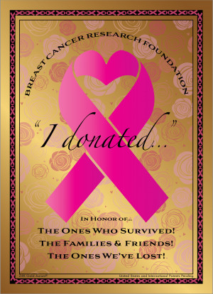 """I donated..."" Breast Cancer Awareness 24K Gold Aurum Note"