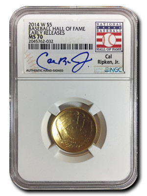 2014 W  $5 Gold NGC MS-70 Authentic Hand-Signed Cal Ripken, Jr. Baseball Hall of Fame Coin - Early Releases