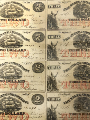Uncut Civil War 1864 Currency Sheets from Mississippi - $2 and $3 Secondary Quality