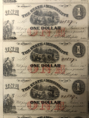 Uncut Civil War 1864 Currency Sheets from Mississippi - $1 First Quality