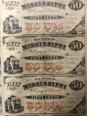 Uncut Civil War 1864 Currency Sheets from Mississippi - 50 Cent First Quality