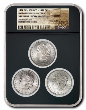 $100 OFF! Real Money of the Old West - Carson City Morgan Silver Dollar 3-Coin Collector's Edition Set - Brilliant Uncirculated